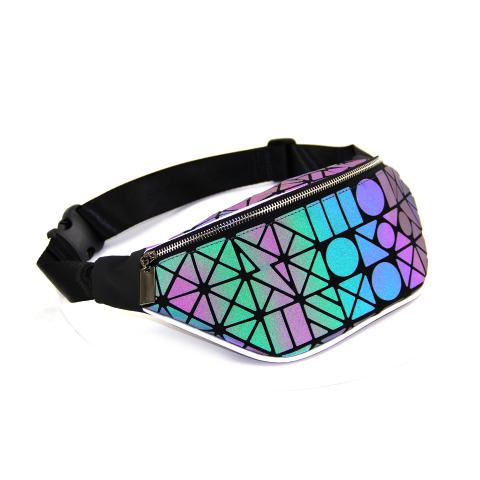 This summer hot sale laser Luminous geometric waist bag is highlight your romence,testure hardware, foldable,easy to carry, good outdoor helper.It can store your phone, wallet,lipstick and common small cosmetics,etc.