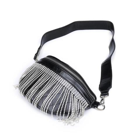 The hot fringed tassel crossbody bag crafted from black pu leather, it comes with adjustable shoulder straps,silver hardware,front zipper closure,inside with one slip pocket and a zip pocket.