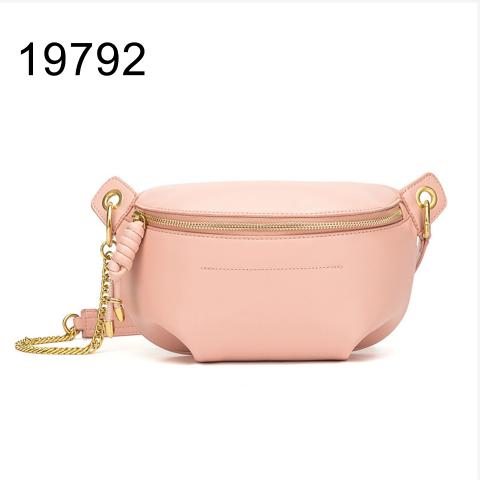 New arrival designer chain waist bag with pink plain leather