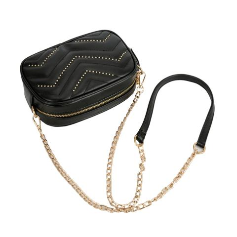 Fashion Zigzag Quilted Small Waist Bags come with tassel and revits details, chain and PU long straps. Top zip closure,one slip pocket and zip pocket inside.