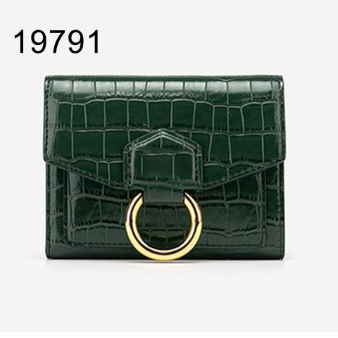 Best-selling women's green Small Croc-effect leather wallet with ring detail