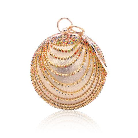 The chic rhinestone rounded evening bag is very suitable for the party or wedding,it will make you elegantly and confidently. It comes with round handle.inside pocket can be put in the coins, small phones and keyrings.