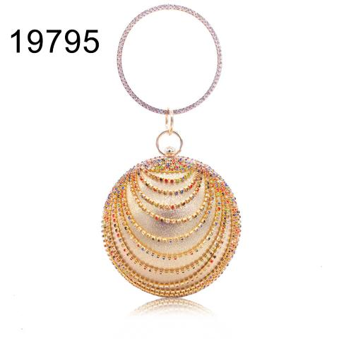 Western fashion colorful rhinestone rounded evening bag for  party or wedding