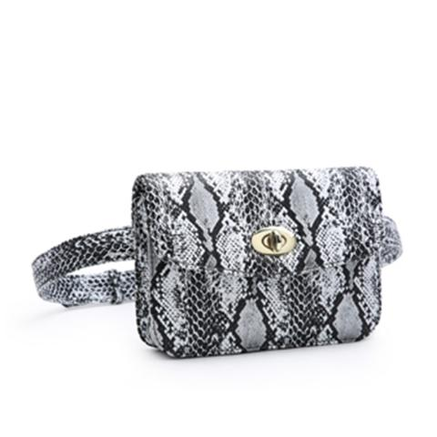 The cool women belt bag is crafted from snake leather materials in a white and features adjustable strap and alternative chain, light gold hardware and flap with metal closure. Wear it high on the waist to keep your phone, cardholder and keys within reach