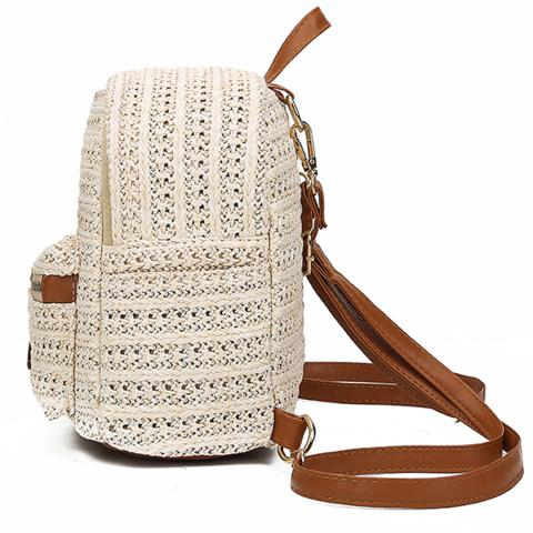 The candy female straw backpack is knitted by hand, exterior zip pocket on the front and pu leather is embellished with the whole knitted bag. This structured straw backpack will up the ante on any vacation-inspired outfit if you carry it out.