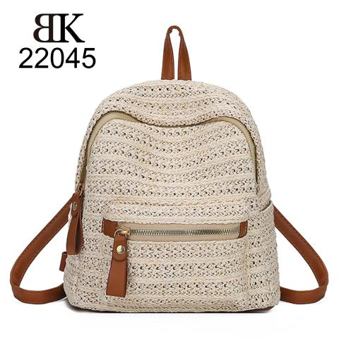 Cute knitted beach bacpack with leather trim on sale