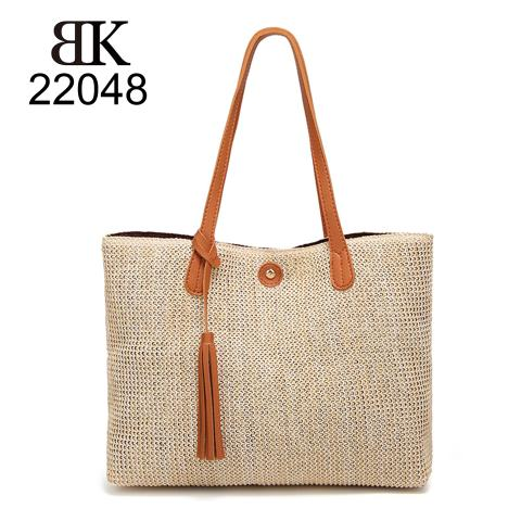 Wholesale designer straw tote handbags with leather trim and tassel